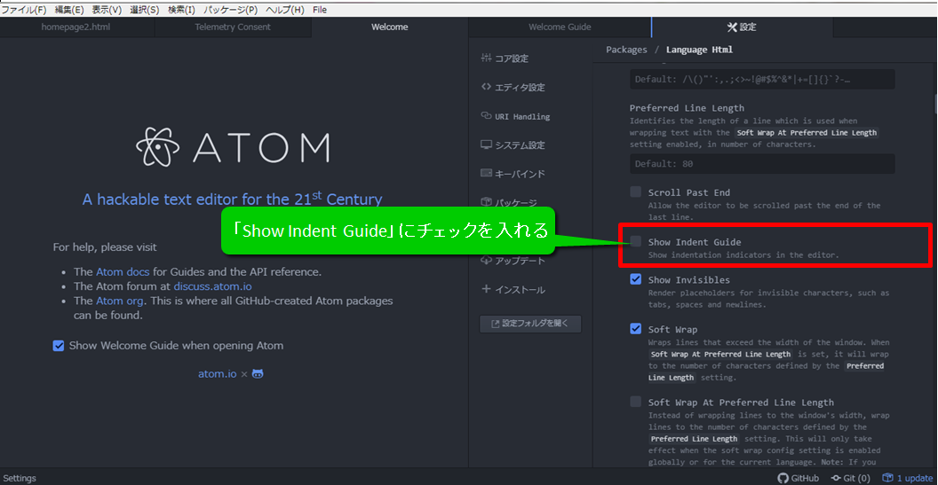ATOM show indent guideをチェック