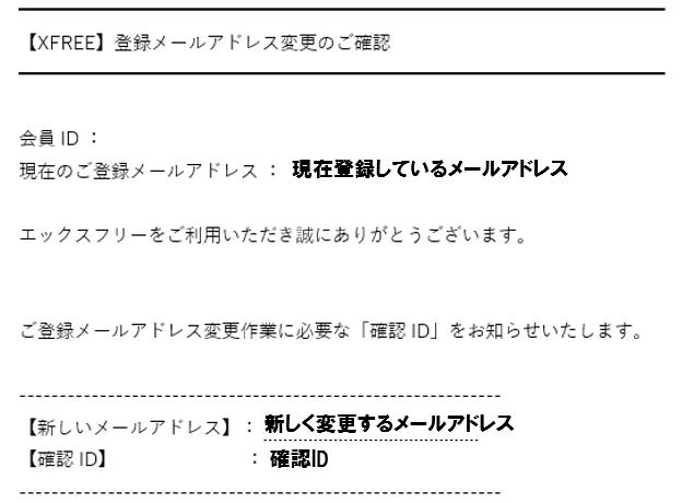 XFREEメルアド変更手順④確認IDメール