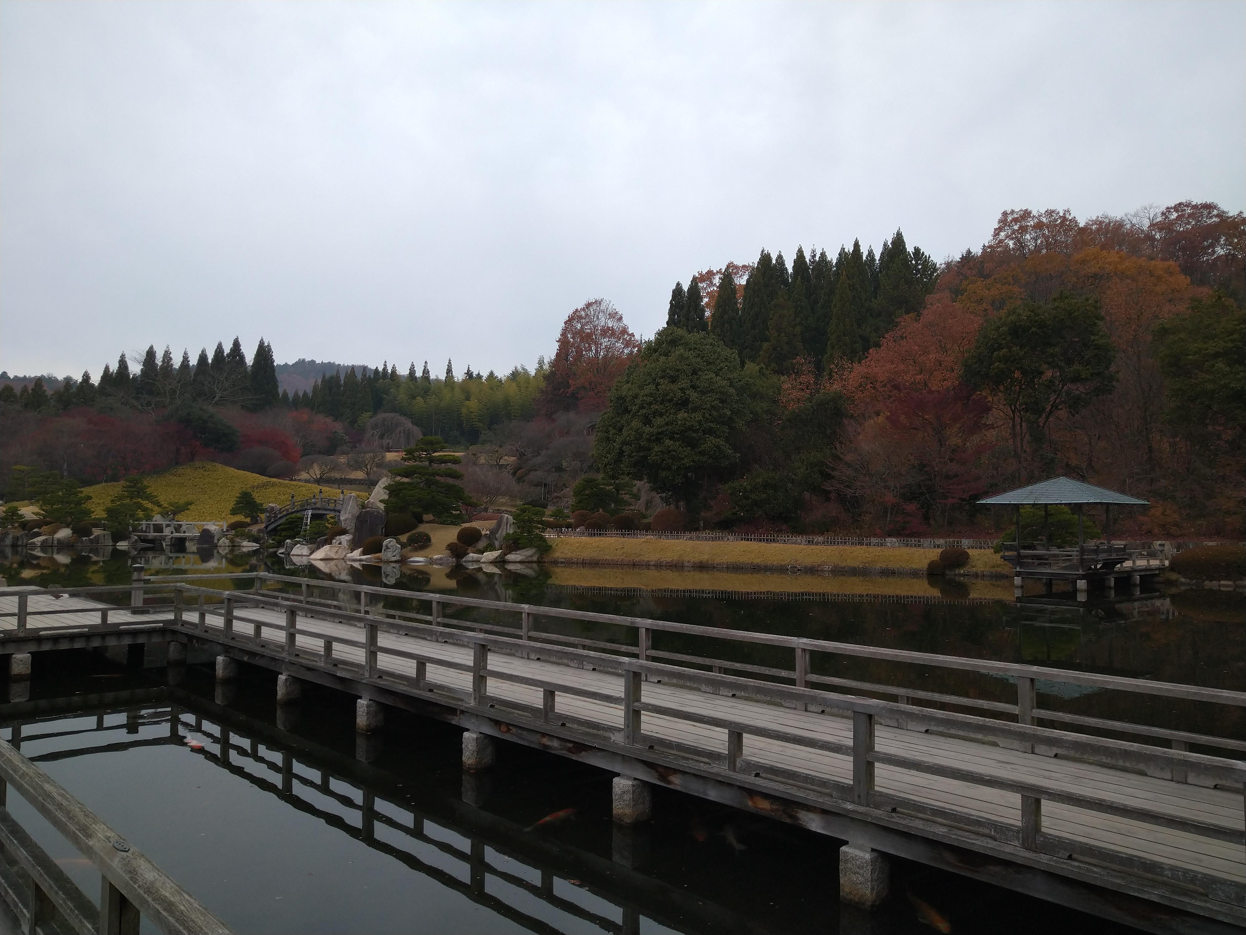 橋の上から見た三景園の絶景